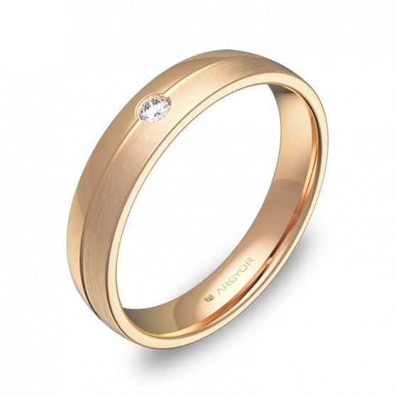 Alianza de boda oro rosa media caña con ranuras y diamante C0540C1BR