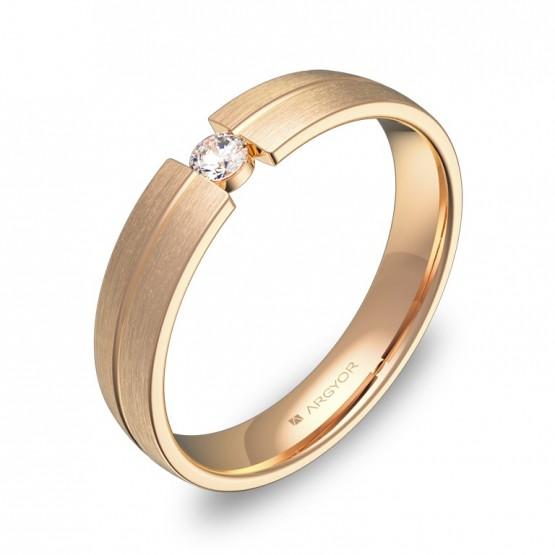 Alianza de boda de oro rosa con ranuras y con diamante C0440S1BR