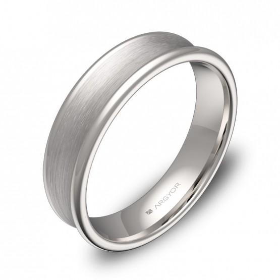 Alianza de boda cóncava 5mm en oro blanco combinado C0750C00B