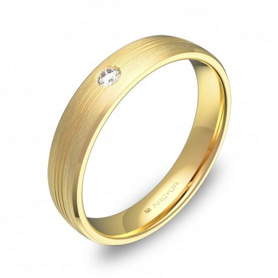 Alianza de boda en oro amarillo con ranuras y diamante C0840S1BA