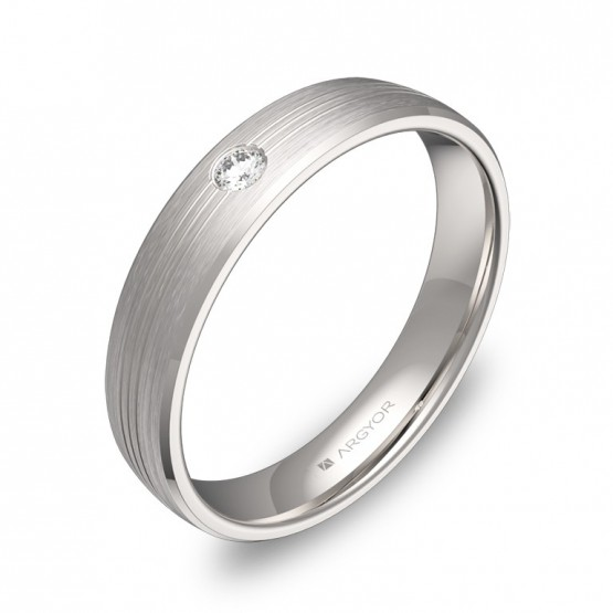 Alianza de boda de oro blanco satinado 4mm con diamante C0840S1BB