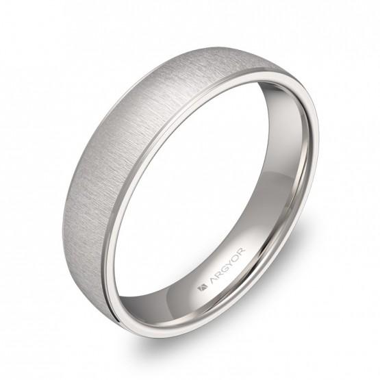 Alianza de boda 4,5mm en oro blanco texturizado C0645T00B