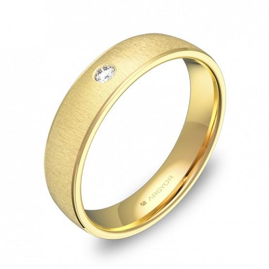 Anillo de boda oro 18k media caña con biseles y diamante C0645T1BA