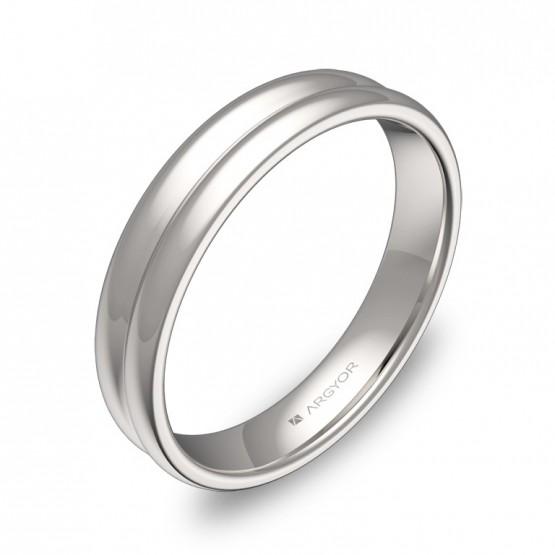 Alianza de boda de oro blanco en forma de doble media caña C0940P00B