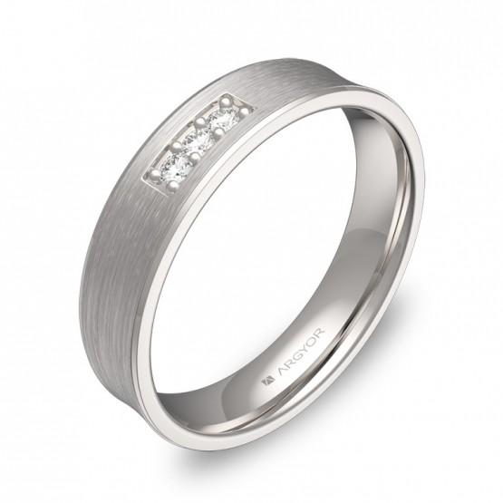 Alianza de boda cóncava en oro blanco satinado con diamantes C1145S3BB