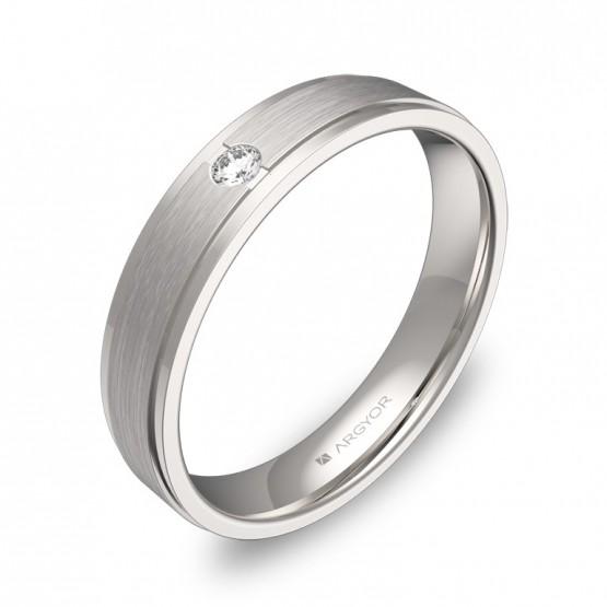 Alianza de boda plana con biseles 4mm oro blanco y diamante C1040C1BB