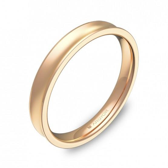 Alianza de boda cóncava 3mm en oro rosa combinado C1330C00R