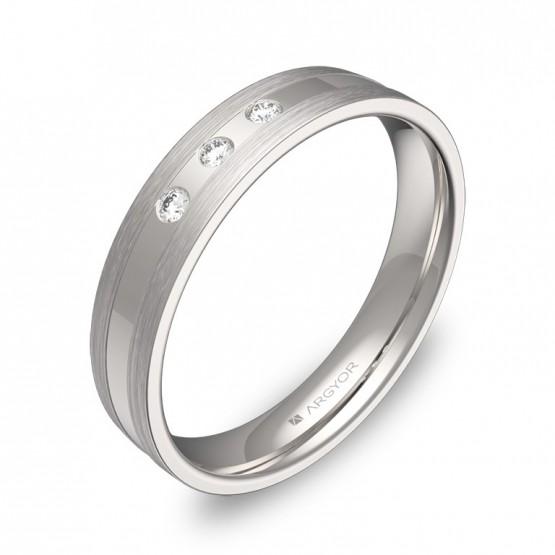 Alianza de boda con ranuras 4mm oro blanco con diamantes C1540C3BB