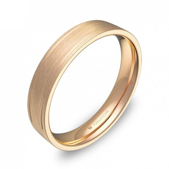 Alianza de boda plana con ranuras 4mm en oro rosa satinado C1640S00R