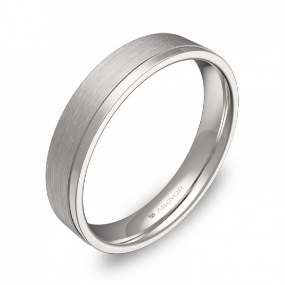 Alianza de boda con ranuras 4mm en oro blanco combinado C1440C00B