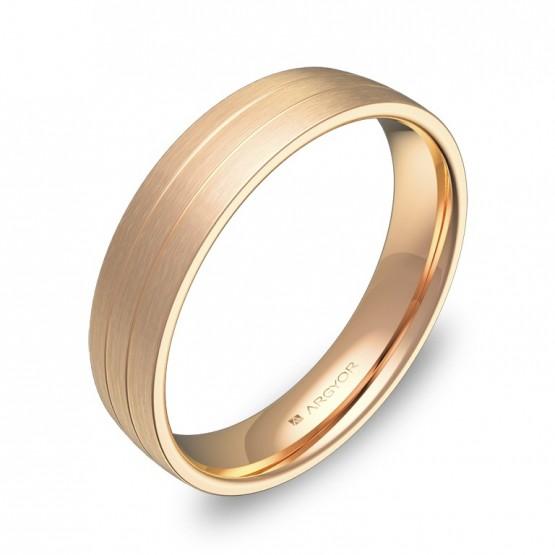 Alianza de boda media caña con ranuras en oro rosa satinado C1745S00R