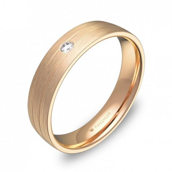 Alianza de boda con ranuras 4,5mm oro rosa con diamante C1745S1BR
