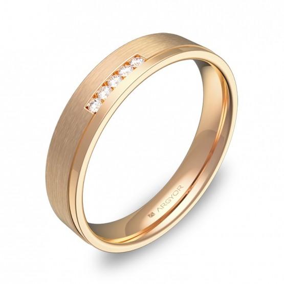 Alianza de boda con ranuras 4mm en oro rosa con diamantes C1440C5BR