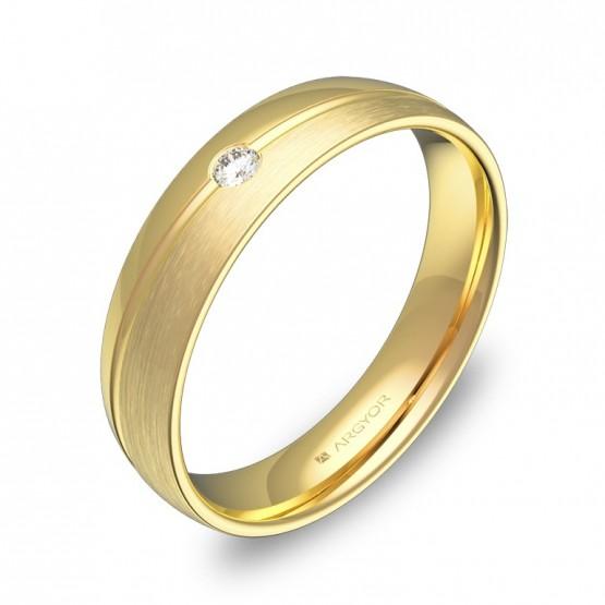 Alianza de boda con ranuras en oro combinado 1 diamante C1945C1BA