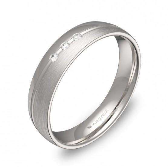 Alianza de boda con ranuras en oro blanco y 3 diamantes C1945C3BB