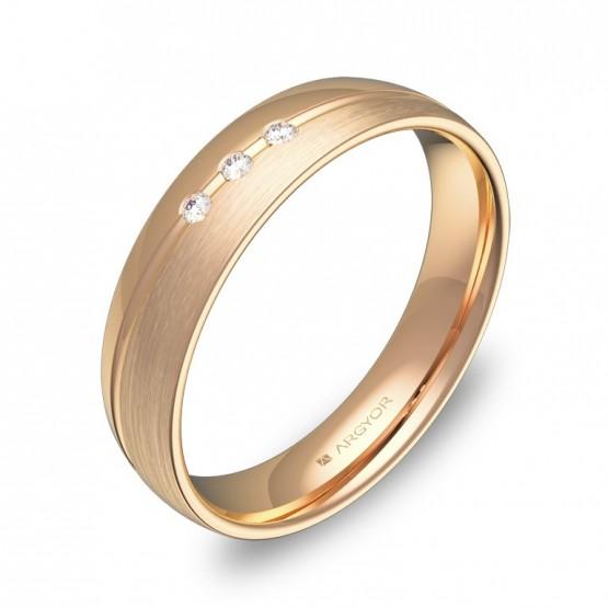 Alianza de boda con ranuras de oro rosa con diamantes C1945C3BR