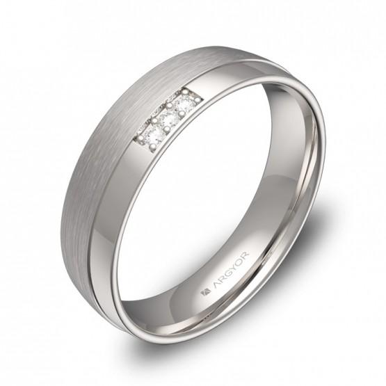 Alianza de boda con ranuras en oro blanco con diamantes C2050C3BB