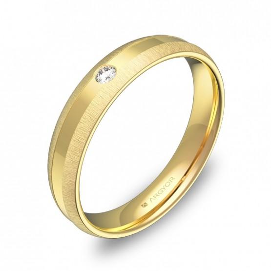 Alianza de boda media caña con ranuras de oro y diamante C2240C1BA