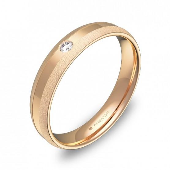 Alianza de boda en oro rosa con ranuras y diamante C2240C1BR