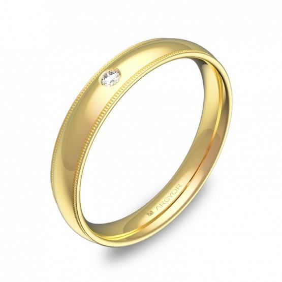Alianza de boda 3,5mm en oro amarillo pulido con diamante C2335P1BA