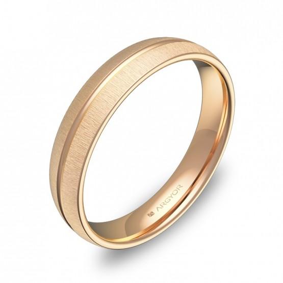 Alianza de boda de media caña con ranuras 4mm en oro rosa C2140T00R