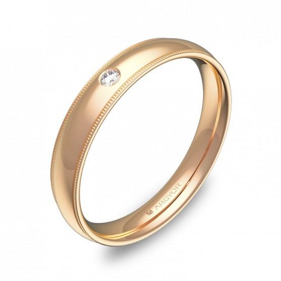 Alianza de boda con biseles 3,5mm en oro rosa con diamante C2335P1BR