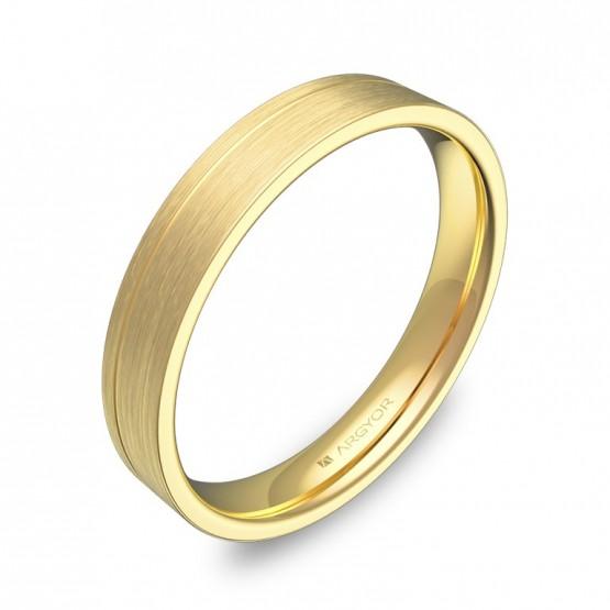 Alianza de boda con ranuras 3,5mm en oro amarillo satinado C2735S00A
