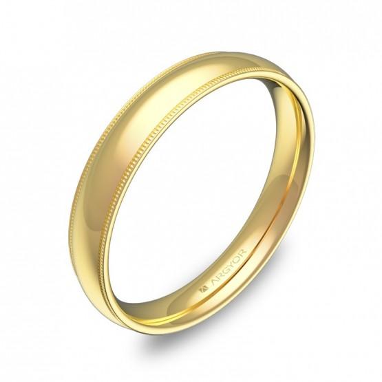Alianza de boda con biseles 3,5mm en oro amarillo pulido C2335P00A