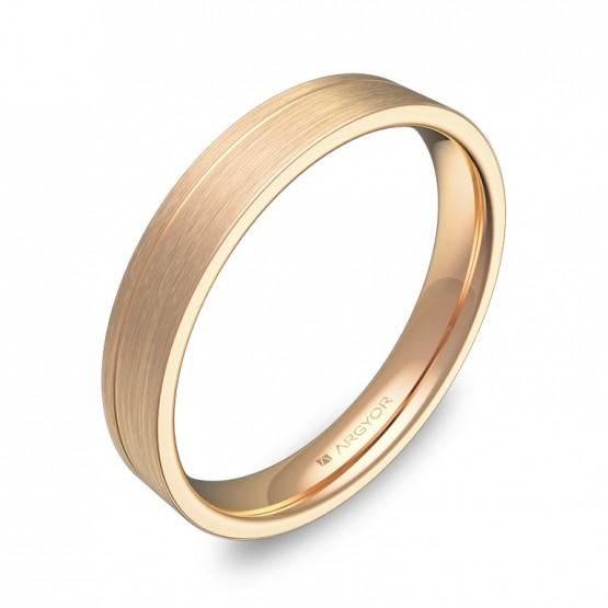 Alianza de boda plana con ranuras 3,5mm en oro rosa satinado C2735S00R