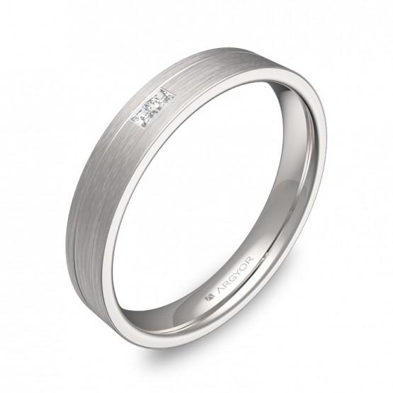 Alianza de boda 3,5mm oro blanco satinado con diamantes C2735S2PB