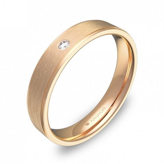 Alianza de boda plana con biseles oro rosa con diamante C2640C1BR