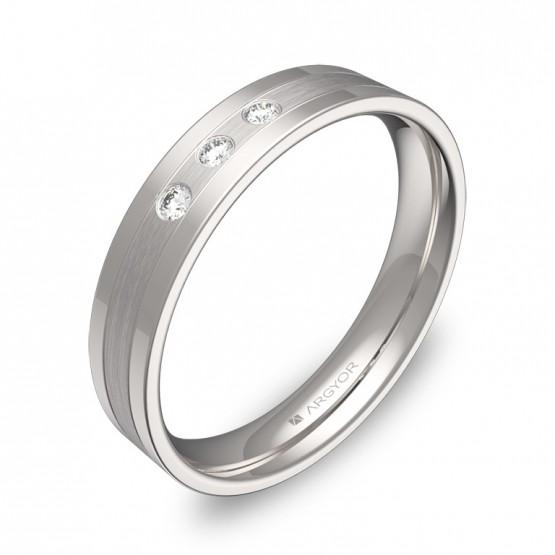 Alianza de boda con ranuras 4mm oro blanco con diamantes C2540C3BB