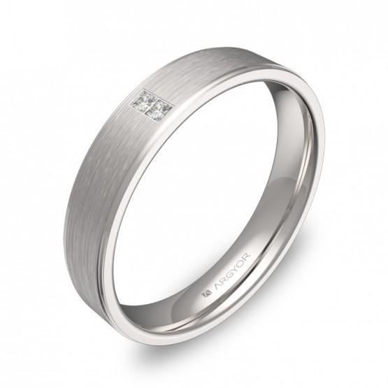 Alianza de boda de oro blanco con biseles 2 diamantes C2640C2PB