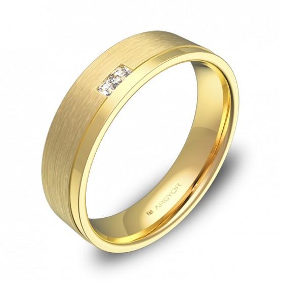 Alianza de boda plana con ranuras oro amarillo con diamantes C2850C2PA