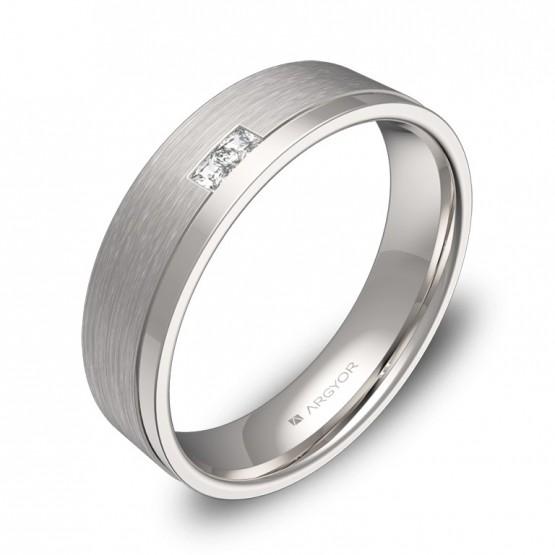 Alianza de boda plana con ranuras oro blanco con diamantes C2850C2PB