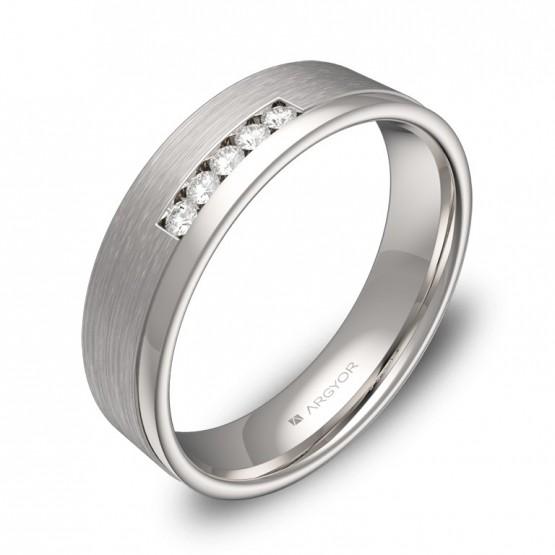 Alianza de boda plana con ranuras oro blanco 5 diamantes C2850C5BB
