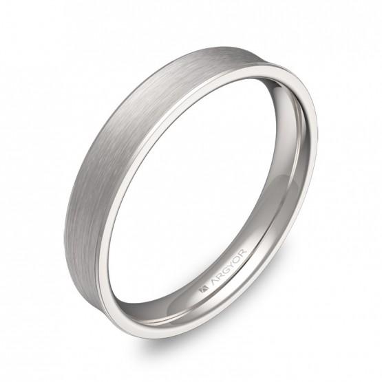 Alianza de boda cóncava 3,5mm en oro blanco satinado C3035S00B