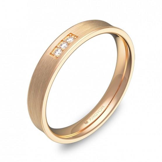 Alianza de boda cóncava 3,5mm en oro rosa con diamantes C3035S3BR