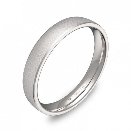 Alianza de boda con biseles 3,5mm en oro blanco textura C3235T00B