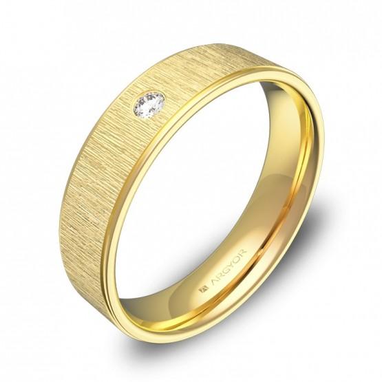 Alianza de boda 5mm oro amarillo combinado con diamante C2950C1BA