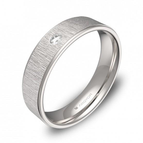 Alianza de boda en oro blanco combinado 5mm con diamante C2950C1BB