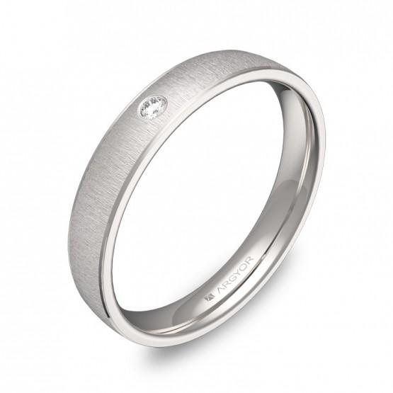 Alianza de boda con biseles oro blanco con diamante C3235T1BB
