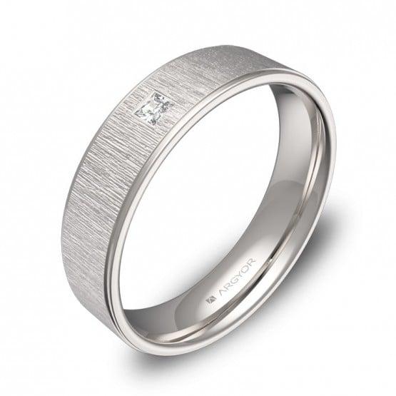 Alianza de boda con biseles 5mm en oro blanco con diamante C2950C1PB