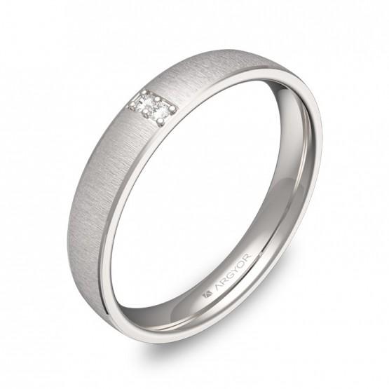 Alianza de boda con biseles en oro blanco con 2 diamantes C3235T2BB