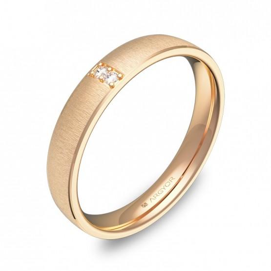 Alianza de boda con biseles en oro rosa con diamantes C3235T2BR