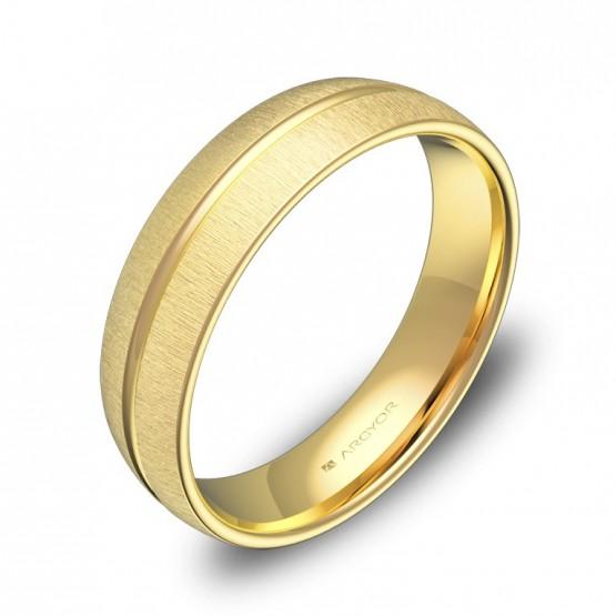 Alianza de boda media caña con ranuras 5mm en oro amarillo C3350T00A