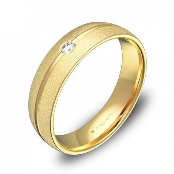 Alianza de oro amarillo 5mm con ranuras y 1 diamante C3350T1BA