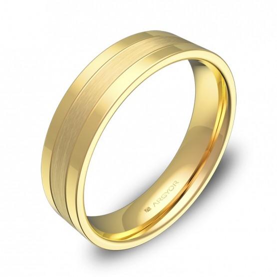 Alianza de boda con ranuras 5mm en oro amarillo combinado C3450C00A