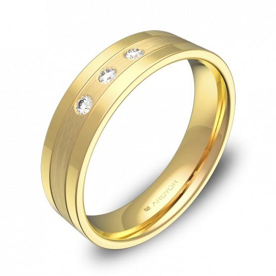 Alianza de boda con ranuras 5mm oro combinado con diamantes C3450C3BA