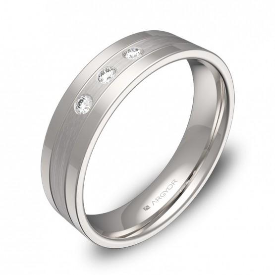 Alianza de boda 5mm en oro blanco combinado con diamantes C3450C3BB
